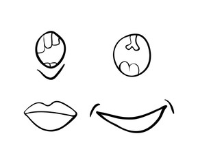 cartoon simple smile set vector symbol icon design. Beautiful illustration isolated on white background