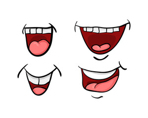 cartoon mouth with tongue and teeth set vector symbol icon design. Beautiful illustration isolated on white background