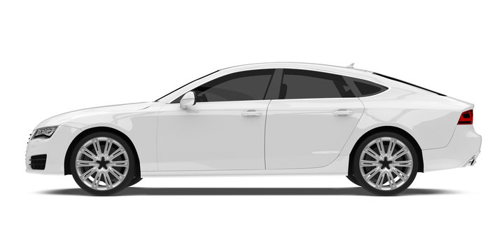White Sedan Car Isolated