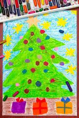 Colorful drawing: Christmas tree