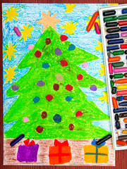 Colorful drawing: Christmas tree