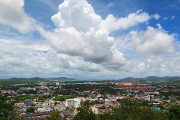 Bird eye view of Phuket cityscape with blue sky background, Thailand