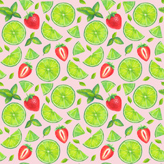 Mojito cocktail seamless pattern