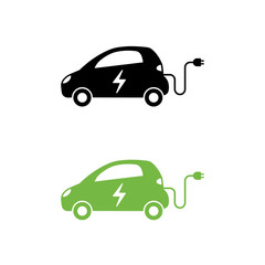 Electric car with electrical charging cable icon. Hybrid Vehicle symbol. Eco friendly auto or electric vehicle concept.