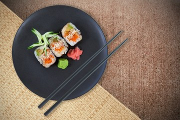 Composite image of high angle view of fresh japanese food