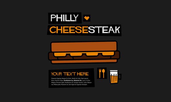 Philly Cheesesteak (Line Art Vector Illustration in Flat Style Design)