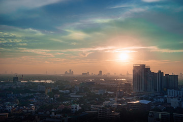 Bangkok skyline with sunset