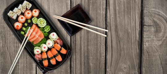 Composite image of close up of japanese food