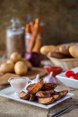 baked potatoes in a rustic manner