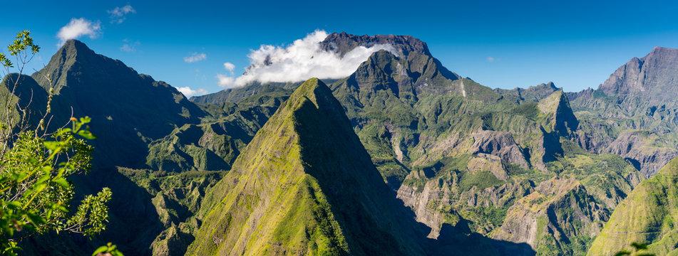 Panorama of Cirque de Mafate on the Island La Reunion
