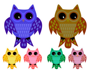 a set of six half-asleep owls with half-closed eyes with ornamented wings and tails in different color variations