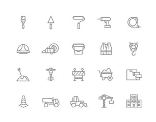 Set of vector construction and repair line icons. Brush, roller, drill, helmet, paint, cone, crane, hook, wall, truck, cament, jackhammer, excavator, workwear, fence, builder and more. Editable Stroke