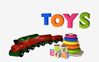 Schriftzug Toys mit Lernspielzeug für Kleinkinder, Buchstaben-Würfel und Holzeisenbahn.
