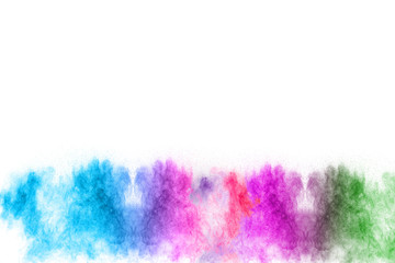 Launched colorful powder isolated on white background.