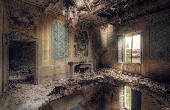 Villa with broken floor