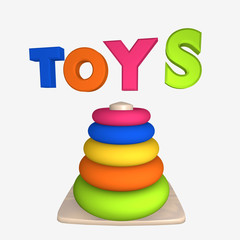 Schriftzug Toys mit Lernspielzeug für Kleinkinder auf weiß isoliert.