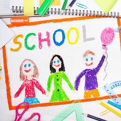 """Colorful drawing with word """"school"""" and school accessories"""