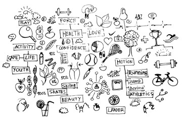 Health doodles, healthy elements isolated on white background