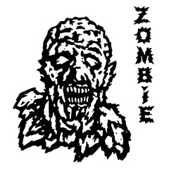 The head of the ghoul zombie. Vector illustration.