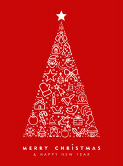 Holiday red pine tree outline icon card design