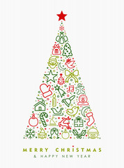 Christmas and new year pine tree outline icon
