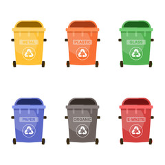 Colorful recycle bins set for the separation and utilize of garbage. Saving of the environment. Vector illustration