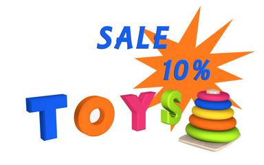 Schriftzug Toys mit Lernspielzeug für Kleinkinder und dem Text Sale 10%.