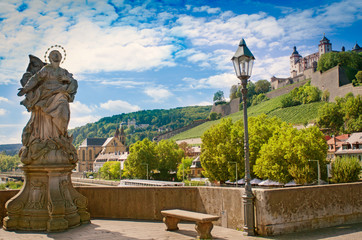 würzburg in late summer with sculpture