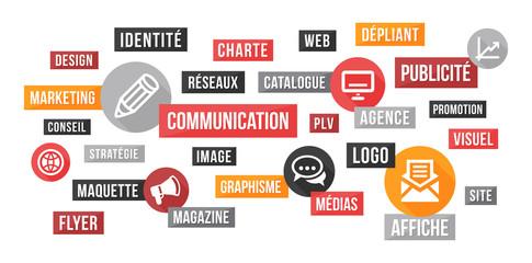 Communication, publicité et marketing - nuage de mots et icônes