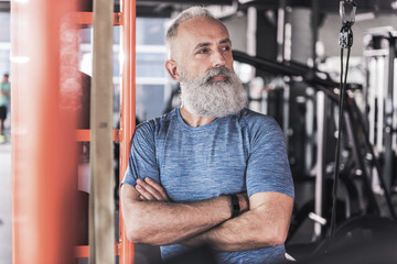 Mature male is spending time in sport club
