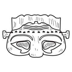 Isolated vintage zombie mask on a white background, Vector illustration
