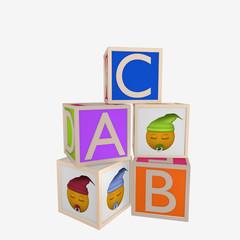 ABC Würfel und Würfel mit Emoticon.