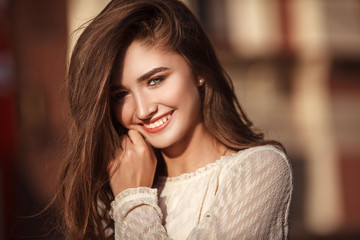 Young pretty woman with natural beauty smilling at camera. Youth and happiness concept.