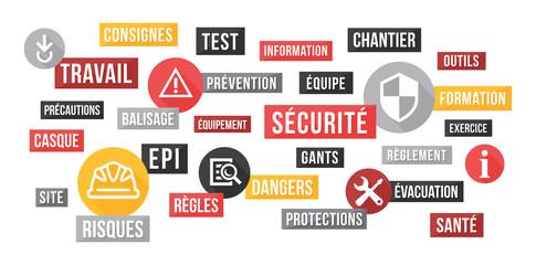 Sécurité au travail, EPI - nuage de mots et icônes