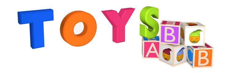 Header/Banner mit Toys als Schriftzug sowie ABC Würfel und Würfel mit Emoticon.