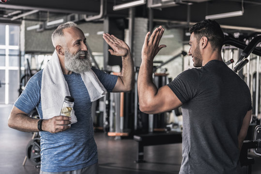 Cheerful males are talking to each other in modern gym