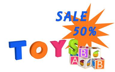 Toys als Schriftzug mit ABC Würfel und Würfel mit Emoticon und Sale 50%.