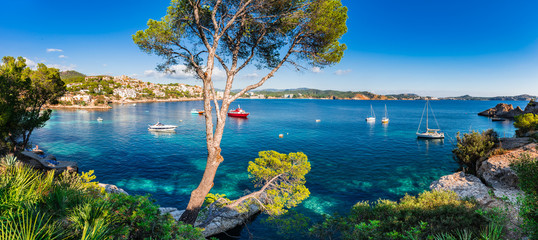 Idyllic panorama island scenery of bay with boats at Cala Fornells on Majorca island, Spain