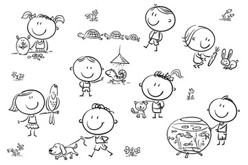 Wall Mural - Kids and Pets