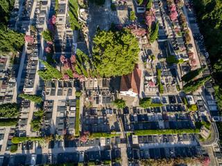 Aerial view of a cemetery in Dalmatia, southern Croatia
