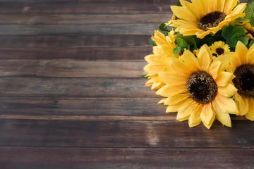 Sunflower Bouquet on Dark Brown Wooden Background