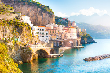 Morning view of Amalfi cityscape on coast line of mediterranean sea, Italy Wall mural
