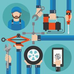 Car Online Service with repairer modern concept flat design.Vector illustration