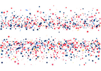 Abstract background with flying red blue silver stars confetti isolated. Blank festive template for usa patriotic holidays
