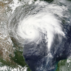 Hurricane Harvey is heading towards Houston, Texas - Elements of this image furnished by NASA