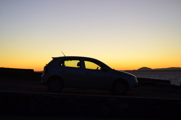 the car in the sunset