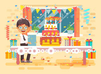 Vector illustration cartoon character child lonely brunette boy celebrate happy birthday, congratulating give gift, huge festive cake with candles and confetti flat style on background of window