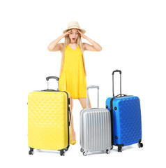 Young woman with suitcases on white background. Luggage overweight concept