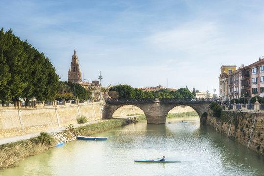 "Kayaks on Segura river and old bridge ""Viejo de los Peligros"". Murcia, Spain"