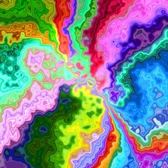 Psychedelic hippie surreal colorful rainbow multicolored design